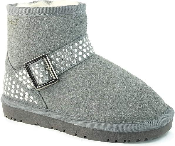 Girls Kids Lovely 4-Buttons Fur-Lined Snow Warm Winter Knee High Boots