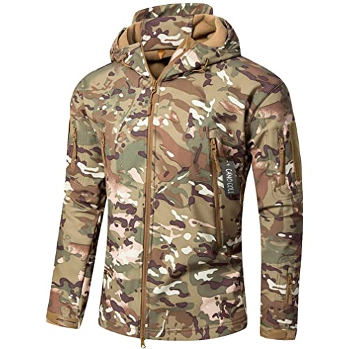 Camo Coll Men's Outdoor Soft Shell Hooded Tactical Jacket