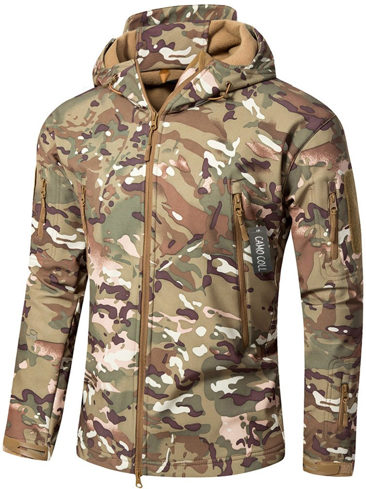 Camo Coll Men's Outdoor Soft Shell Hooded Tactical Jacket (XL, Army) by Camo Coll