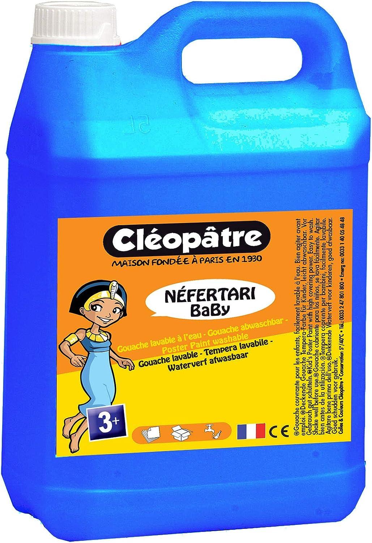 Cleopatre - PGBB5-5 - Pintura Guache Nefertari BaBy - bote de 5 litros - Azul cian: Amazon.es: Hogar