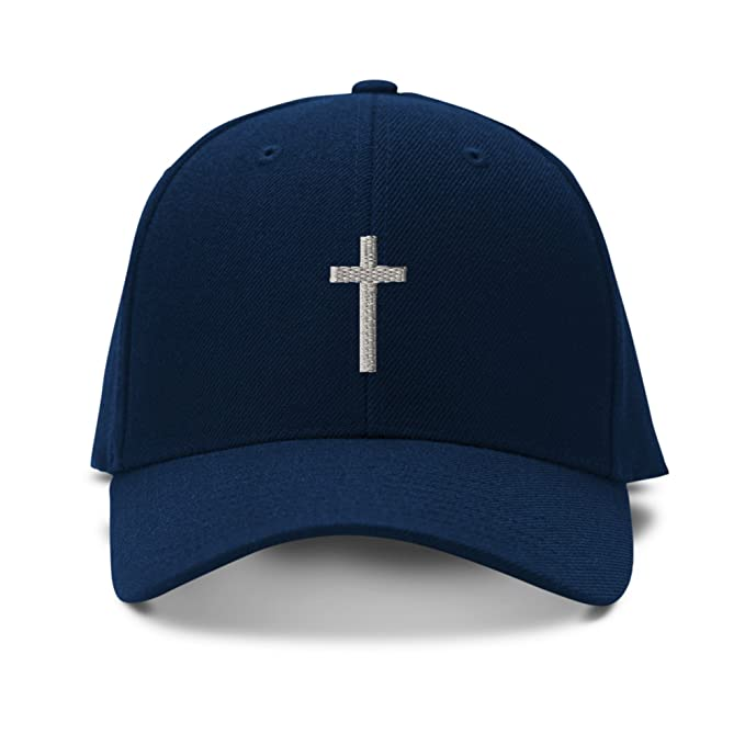 de2794a9b60 Image Unavailable. Image not available for. Color  Cross Silver God Jesus  Embroidery Adjustable Structured Baseball Hat Navy