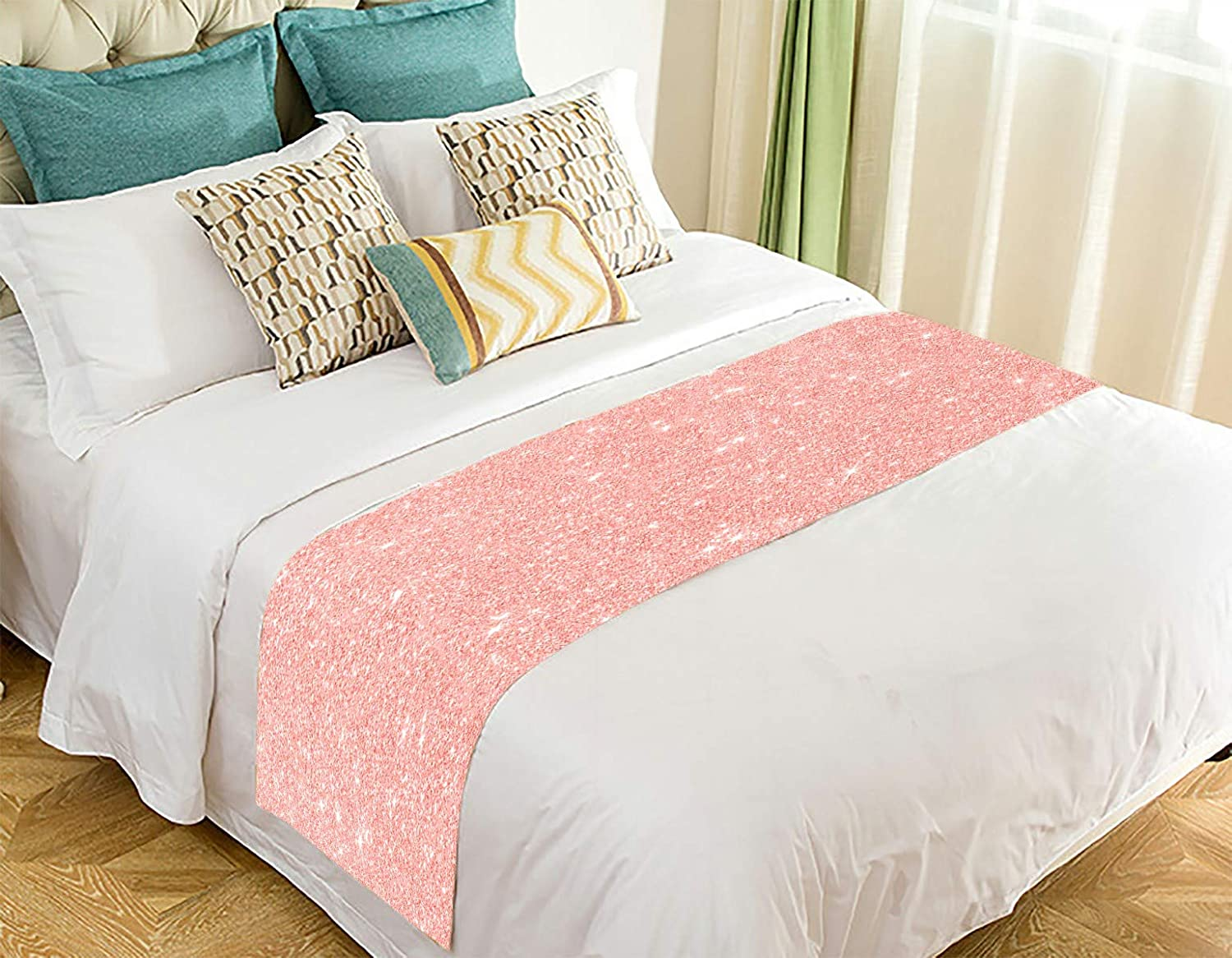 ECZJNT Rose Gold Glitter Texture Pink red Sparkling Shiny Bed Runner Bed Scarf Bed Decor 20x95 inch