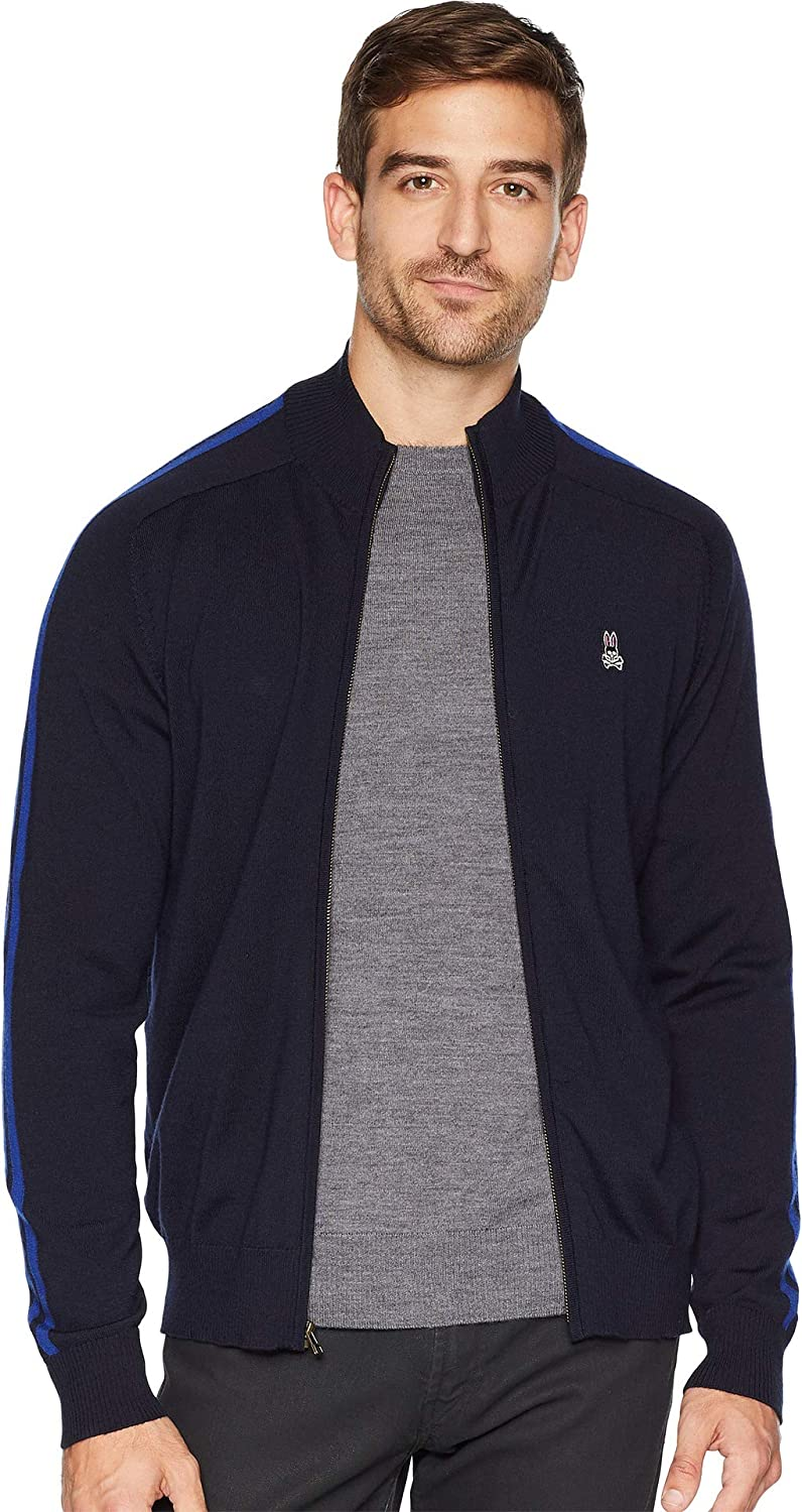 Psycho Bunny Men's Merino Wool Zip-Through Cardigan Navy