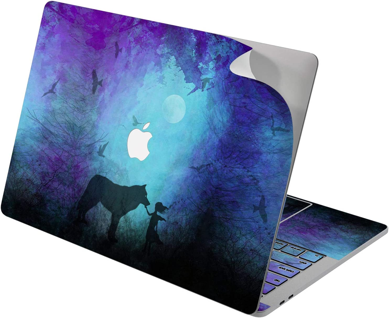 "Cavka Vinyl Decal Skin for Apple MacBook Pro 13"" 2019 15"" 2018 Air 13"" 2020 Retina 2015 Mac 11"" Mac 12"" Wolf Unique Laptop Cute Animal Blue Print Design Protective Watercolor Sticker Painted Cover"
