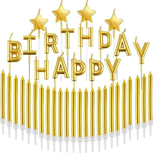 41 Piezas Set de Velas de Oro Cartas de Feliz Cumpleaños ...