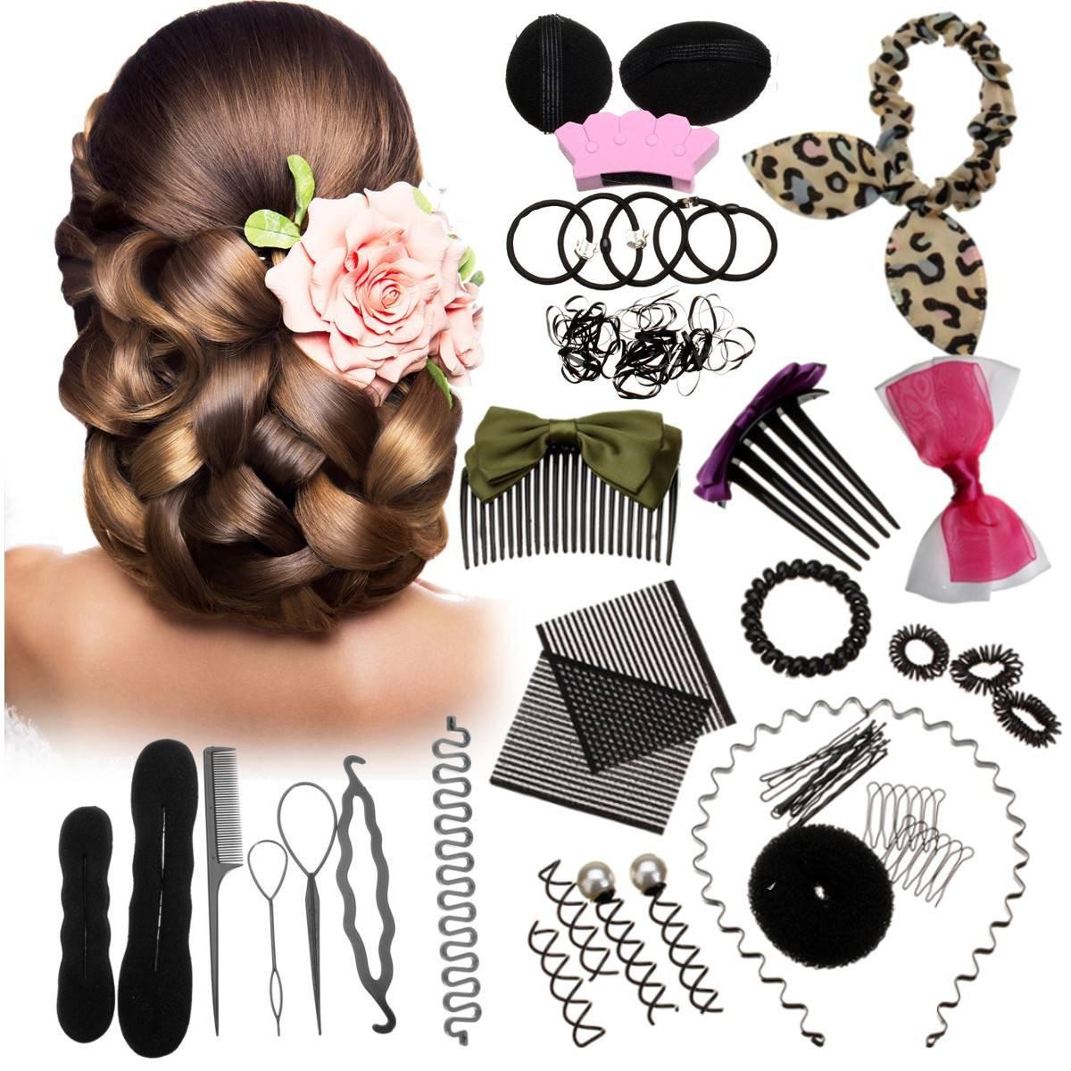 LuckyFine Frisurenhilfe Haar Styling Werkzeug Set Haarkamm schwamm Haardreher Pads Foam Sponge Bun Donut Hair Clip