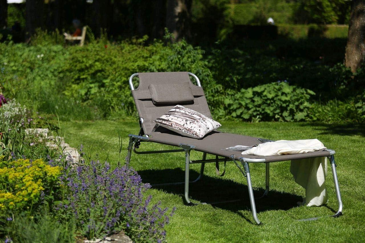 XXL Sonnenliege Dreibeinliege Gartenliege Grau gepolstert