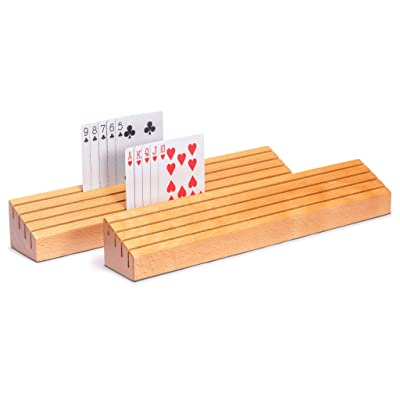 Yellow Mountain Imports Extra-Wide Solid Beechwood Playing Card Holders - Set of 2: Toys & Games