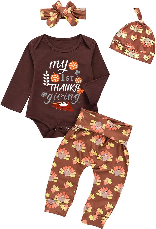 Minseng Direct Baby Boy Girls My 1st Thanksgiving Outfits Turkey Pumpkin Pant Set