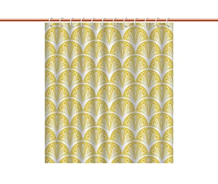IPrint Waterproof Shower Curtain Yellow And WhiteRounded Floral Motifs Overlapping Pattern 20s 30s