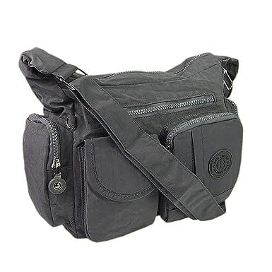 5666bef498704 Bag Street Damen Handtasche Umhängetasche Beutel Nylon grau  Amazon ...