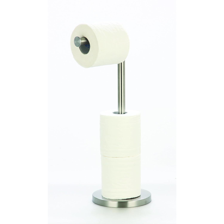 MSV Stand WC Soporte para rollos de papel higié nico (Soporte para papel higié nico + para 2 In1 Acero Inoxidable