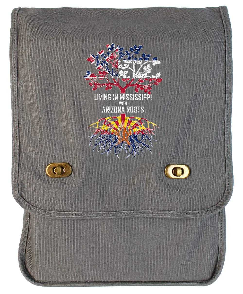 Tenacitee Living In Mississippi with Arizona Roots Grey Brushed Canvas Messenger Bag