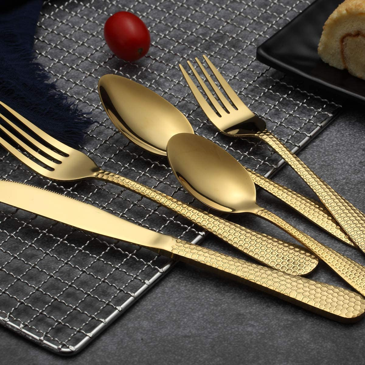 Shiny Rainbow 20 Pieces Service for 4 Kyraton Colorful Titianium Plated Stainless Steel Flatware Set 20 Pieces,Hammer Design Rainbow Color Silverware Set