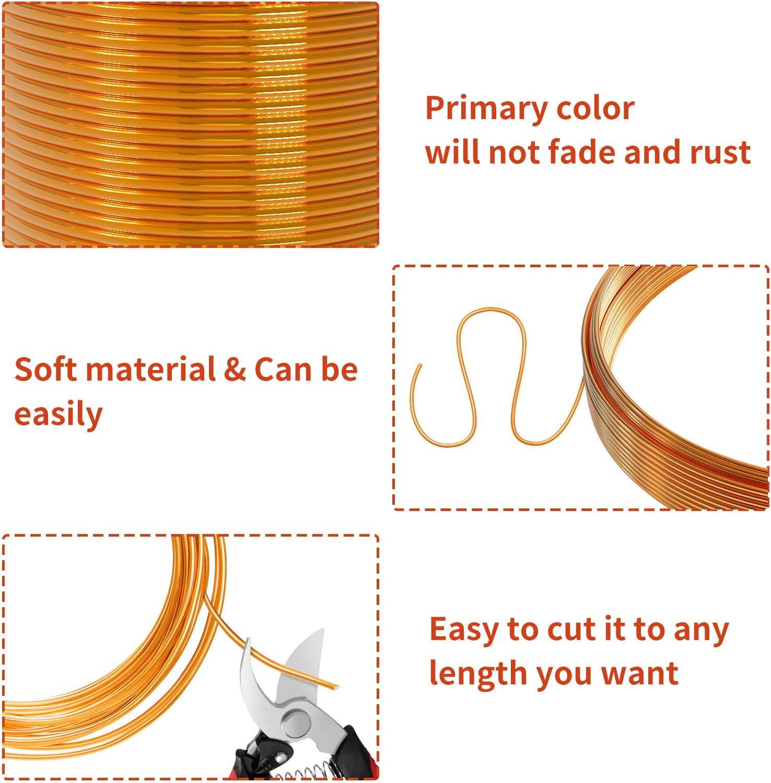 Oro//Argento//Oro Rosa 12 Rotoli Alambre De Aluminio Para Bisuteria Manualidades Sxiocta 60m Hilos Pulseras 5m Per Rotolo 0,8//1,0//2,0//3,0 mm Materiales Hilo Colores Jardineria