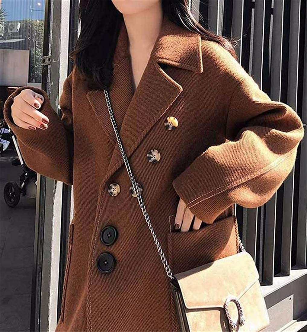 Pandapang Womens Lapel Woolen Outwear Single Breasted Autumn Winter Trench Coat
