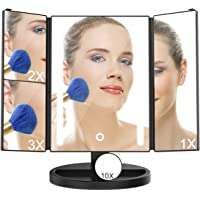 Led Make Up Mirror, INKERSCOOP Trifold 24 LED Lights with 10X/3X/2X/1X Magnification Vanity Mirror 180 °Adjustable Stand Smart Touch Screen Adjustable Brightness Lighted for Makeup(Black)