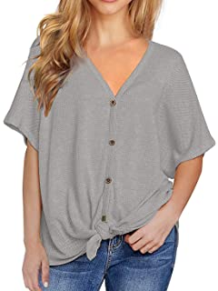 58ad091af Womens Waffle Knit Shirts Tie Knot Front Henley Tops Button Down Plain  Blouse