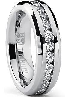 8MM Titanium ring wedding band with 9 large Channel Set CZ BP14hmhN