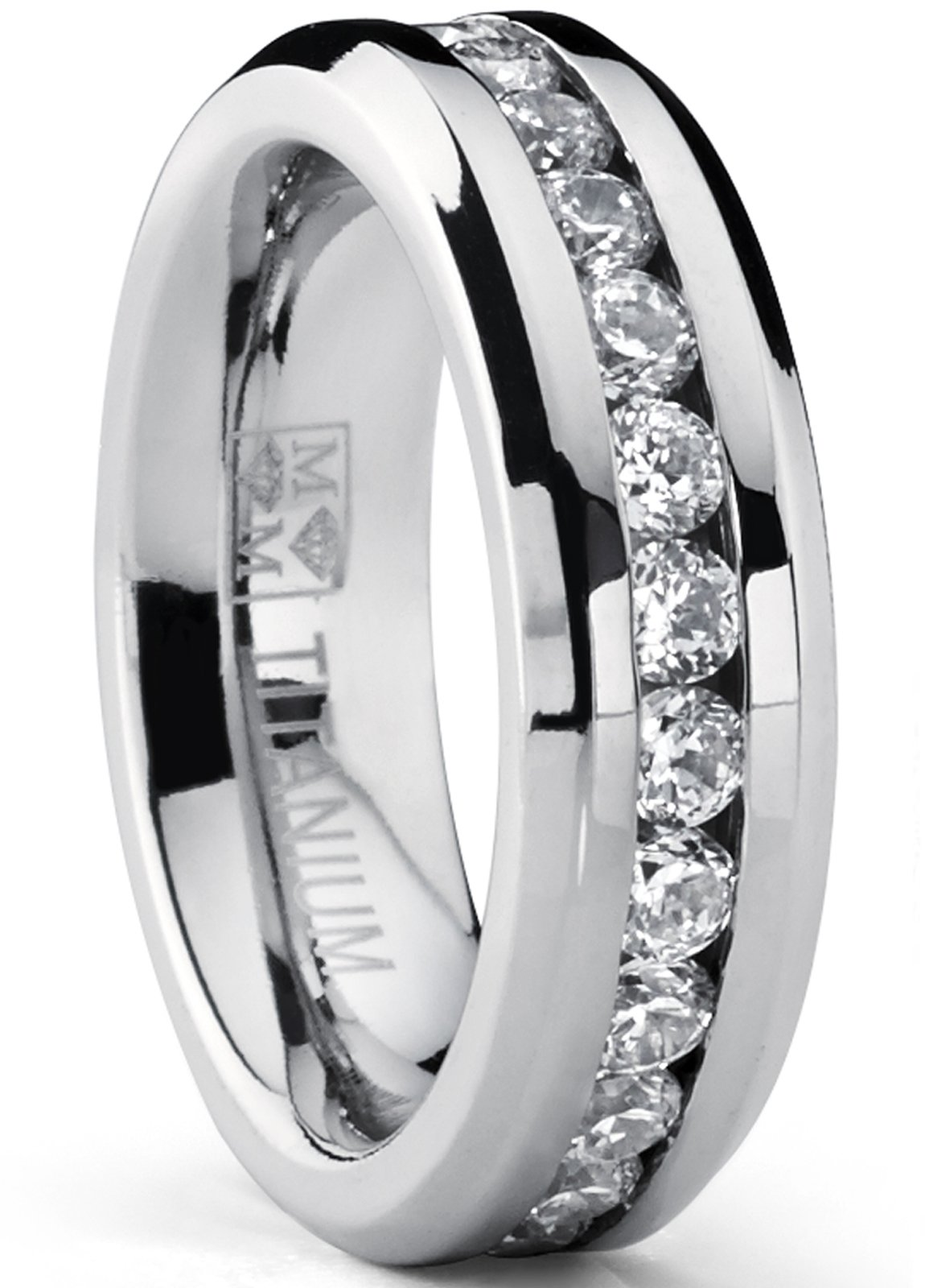 6MM Ladies Eternity Titanium Ring Cubic Zirconia Wedding Band with CZ Size 7 by Metal Masters Co.