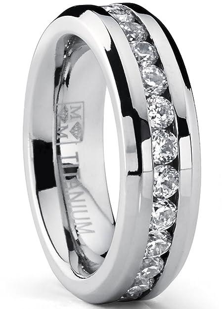 6mm ladies eternity titanium ring cubic zirconia wedding band with
