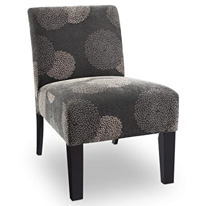 Merveilleux Deco Sunflower Fabric Slipper Chair Color: Grey Sunflower