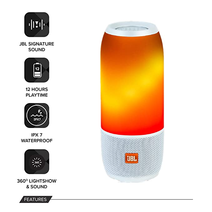 821a73cffa316 JBL Pulse 3 Wireless Portable Speaker with Vibrant Lightshow (White)