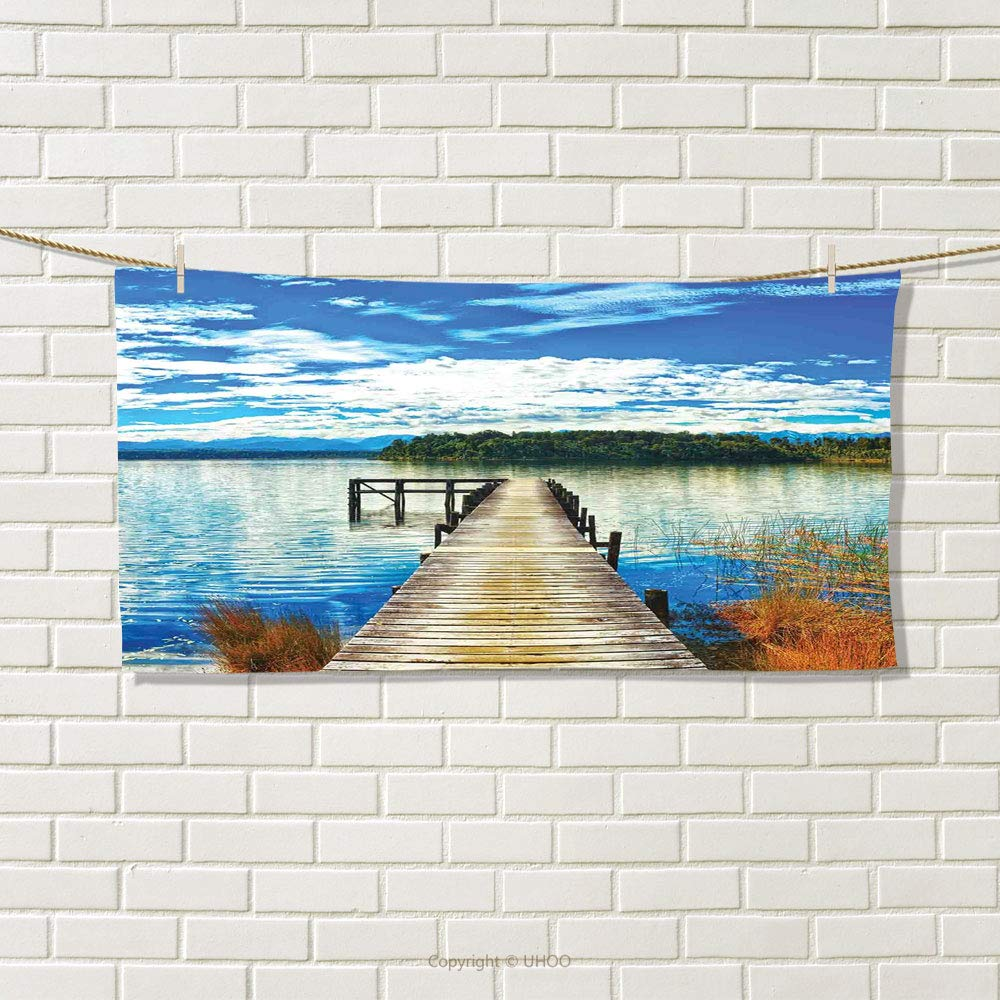 smallbeefly Beach Sports Towel Countryside with Lake Trees Pier Cloudy Summer Sky Water Reflection Rural Absorbent Towel Blue Orange Green Size: W 12'' x L 35.20''