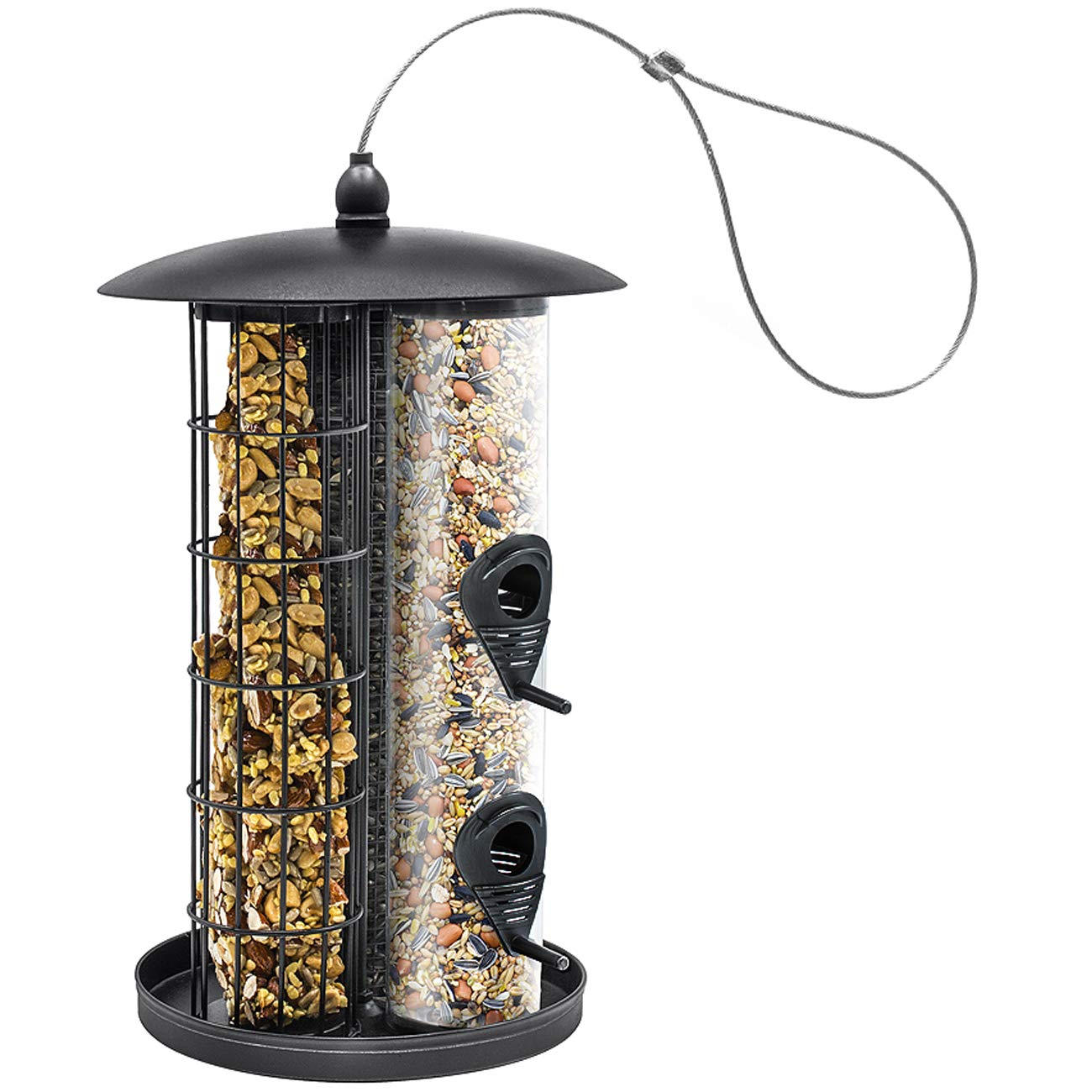 Sorbus Bird Feeder – Triple Tube Combination Hanging Feeder for Mixed Seed and More, Premium Iron Metal Design with Hanger, Great for Attracting Birds Outdoors, Backyard, Garden (Black)