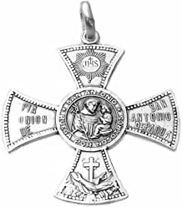 Medalla Plata Ley 925M San Antonio De Padua 33mm. Cruz Aspa Ruega Por Nosotros Unisex Cerco