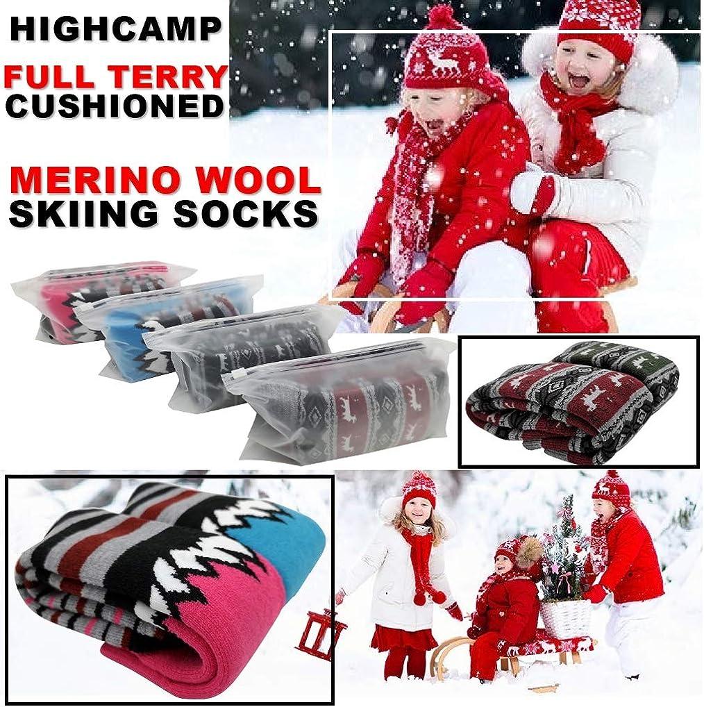Winter Warm Thermal Snow Socks Skiing Snowboarding Skating Highcamp 2 Pairs Merino Wool Ski Socks for Toddler Kids Boy Girl