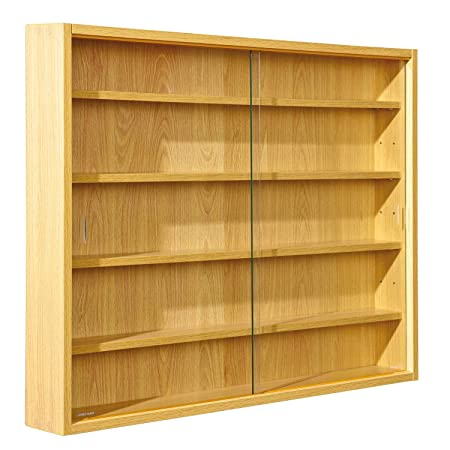 Easy Home Simply Vitrina de madera MDF y vidrio, Marrón, 80 x 9.5 x 60 cm