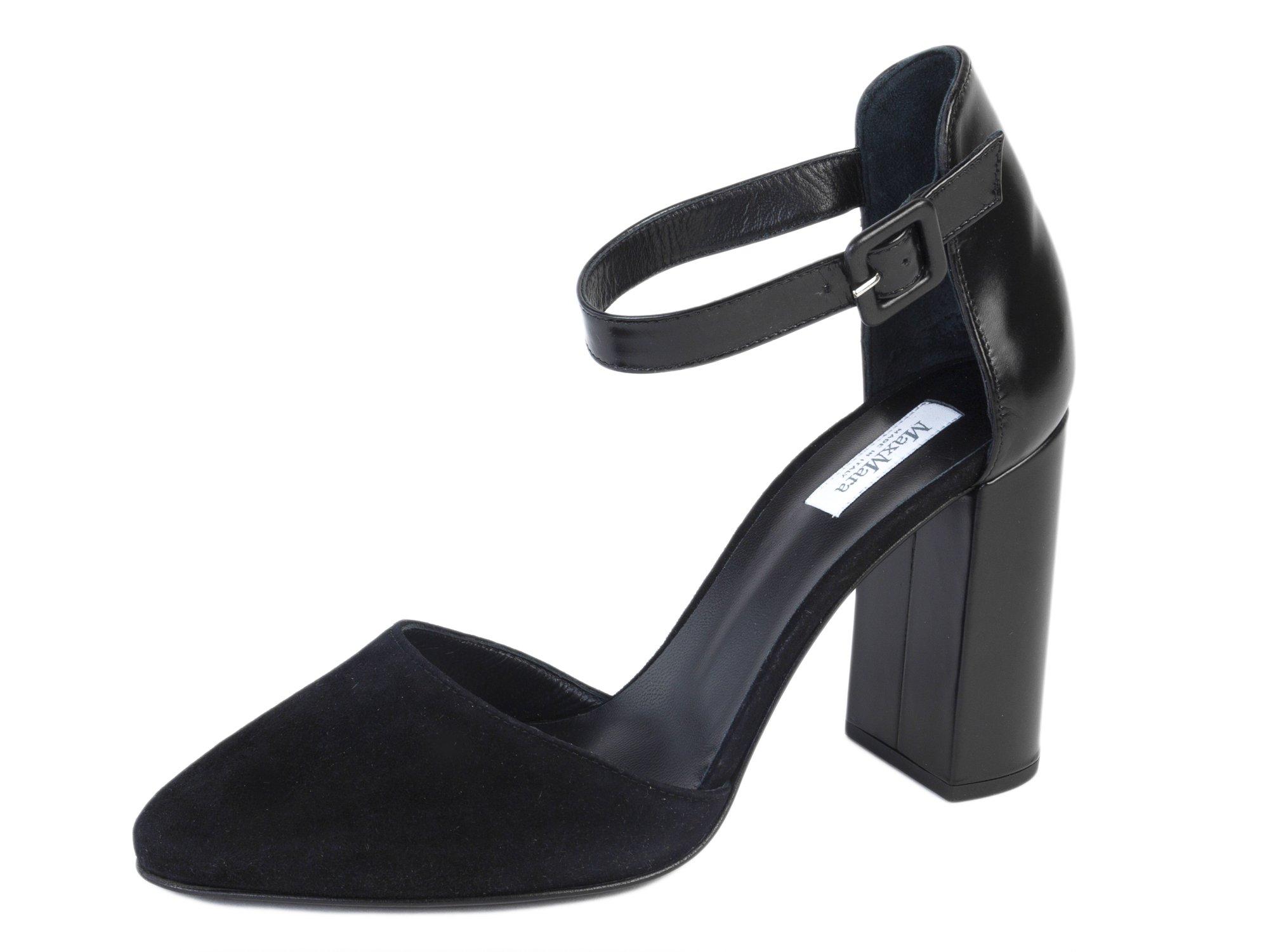 MaxMara Women's Gong Leather Ankle Strap Pumps US 7/IT 37 Black