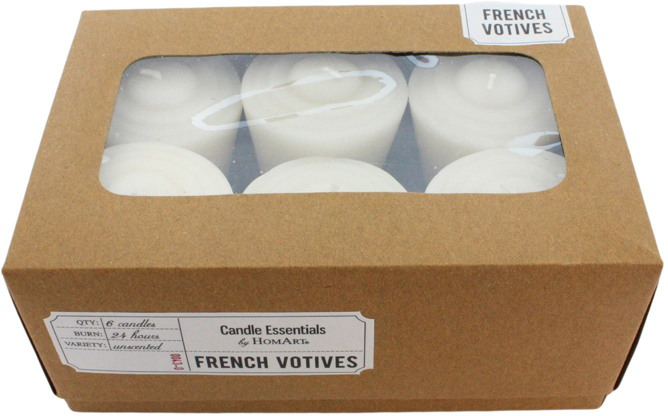 HomArt Unscented French Votive Wax Candles, Ivory, 6-Pack