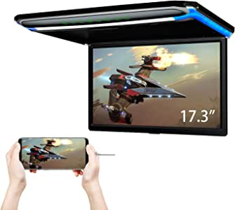 XTRONS® 17.3 Inch 16:9 Ultra-thin FHD Digital TFT Screen 1080P Video Car Overhead Player Roof Mounted Monitor HDMI Port 19201080 Full High Definition (CM173HD)