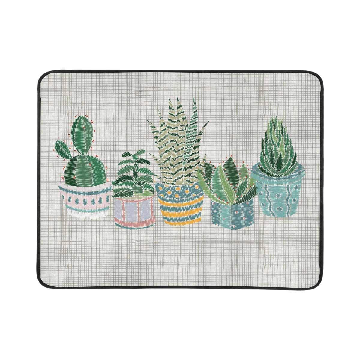 InterestPrint Sand Free Beach Mat 78'' x 60'' Printed Cactus Pots Waterproof Outdoor Beach Blanket
