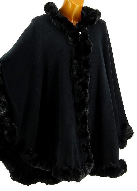 Charleselie94® - Cape Manteau Poncho Fourrure Grande Taille Hiver Noir  Jules Noir  Amazon.fr  Vêtements et accessoires c83d4bfc7a3