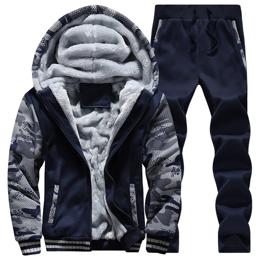 Men's Pullover Winter Tracksuit Soft Hooed Fleece Thick Hoodies Sweat Suits Warm Coats Dark Blue-M