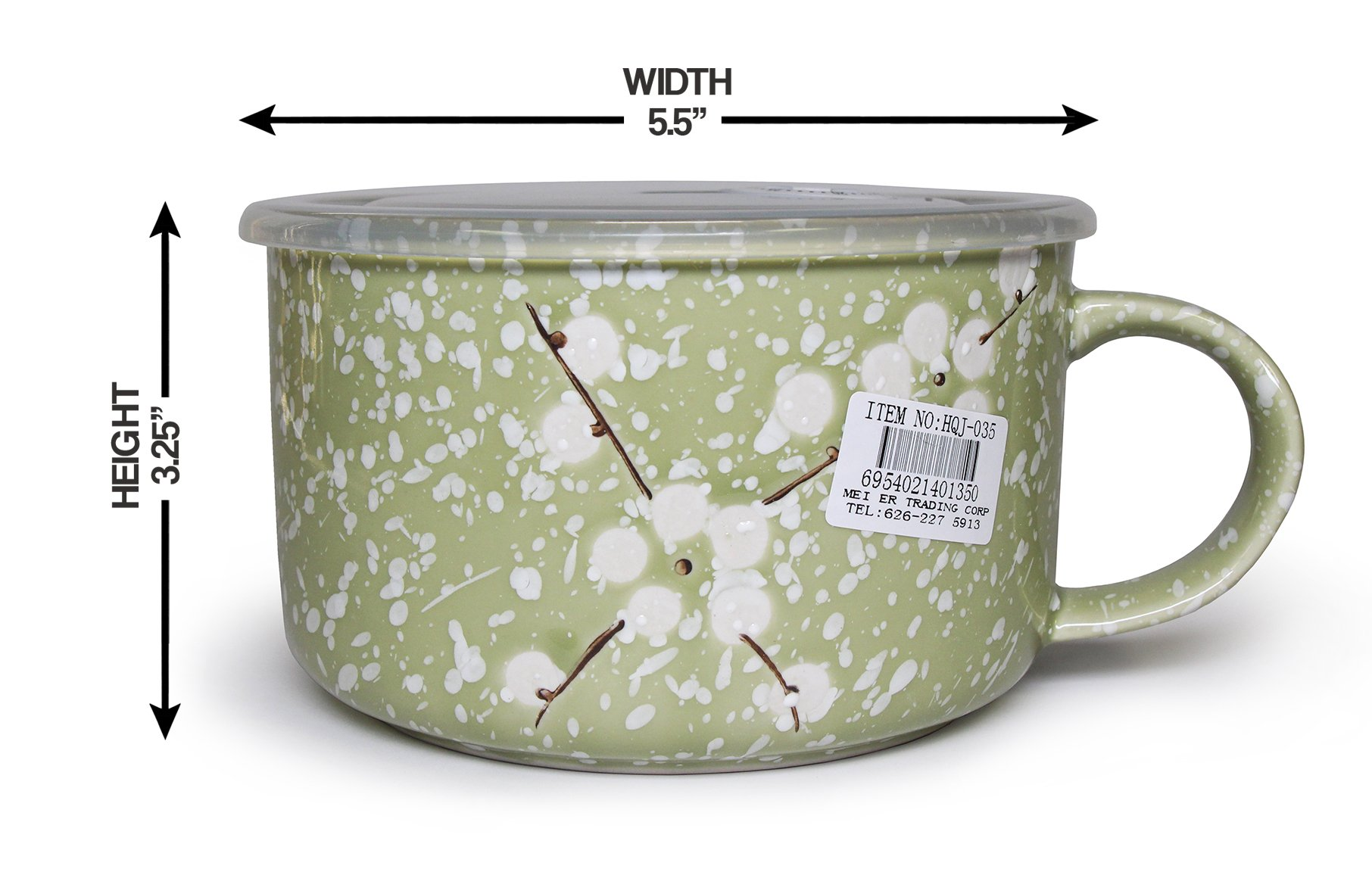 Ya Tai Microwavable Ceramic Noodle Bowl with Handle and Seal Fine Porcelain (Olive)