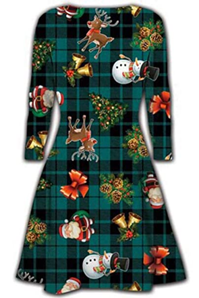 8e246d254f3dfd Neu Damen Mini Kleider Weihnachts Bäume Weihnachten Weihnachtsmann  Schneemann Rentier Rudolph Geschenk Glocken Geschenk Damen Schaukel