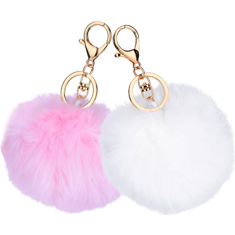 2 Pieces Pom Pom Keyring Fluffy Keyring Cell Phone Charm Key Chain Balls  Bag Pendant Keychain (White and Pink)  Amazon.co.uk  Luggage 12f1eb1e92b2