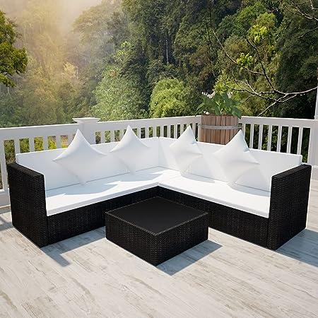 Tidyard Conjunto Muebles de Jardín de Ratán 17 Piezas Sofa Jardin Exterior Sofas Exterior Jardin Ratan Conjunto Jardin Ratan Negro: Amazon.es: Hogar