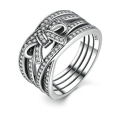 Amazoncom FJT Jewel Sterling Silver New Classic Big Bow Ring