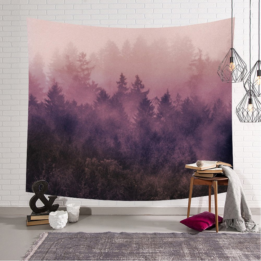 Forest Tapestry Woodland Decor Collection Night and Fog Fantasy Magical Landscape For Bedroom Living Room Home Decor Art Wall Hanging (Pink, 59Wx40L)