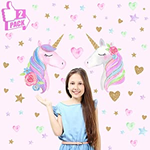 CYKT 2 Big Unicorn Wall Decoration Gifts for Girls 2-7 Years Old, Removable Unicorn Wall Decoration Stickers, 3-12 Years Old Kids Bedroom Kindergarten Birthday Party Use