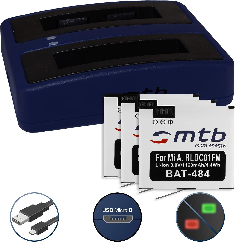 3 Baterías + Cargador Doble (USB) para Xiaomi mijia Mini 4K Action CAM - reemplaza Xiaomi RLDC01FM [1160 mAh - 3.8V - Li-Ion] - Cable USB Micro Incluido