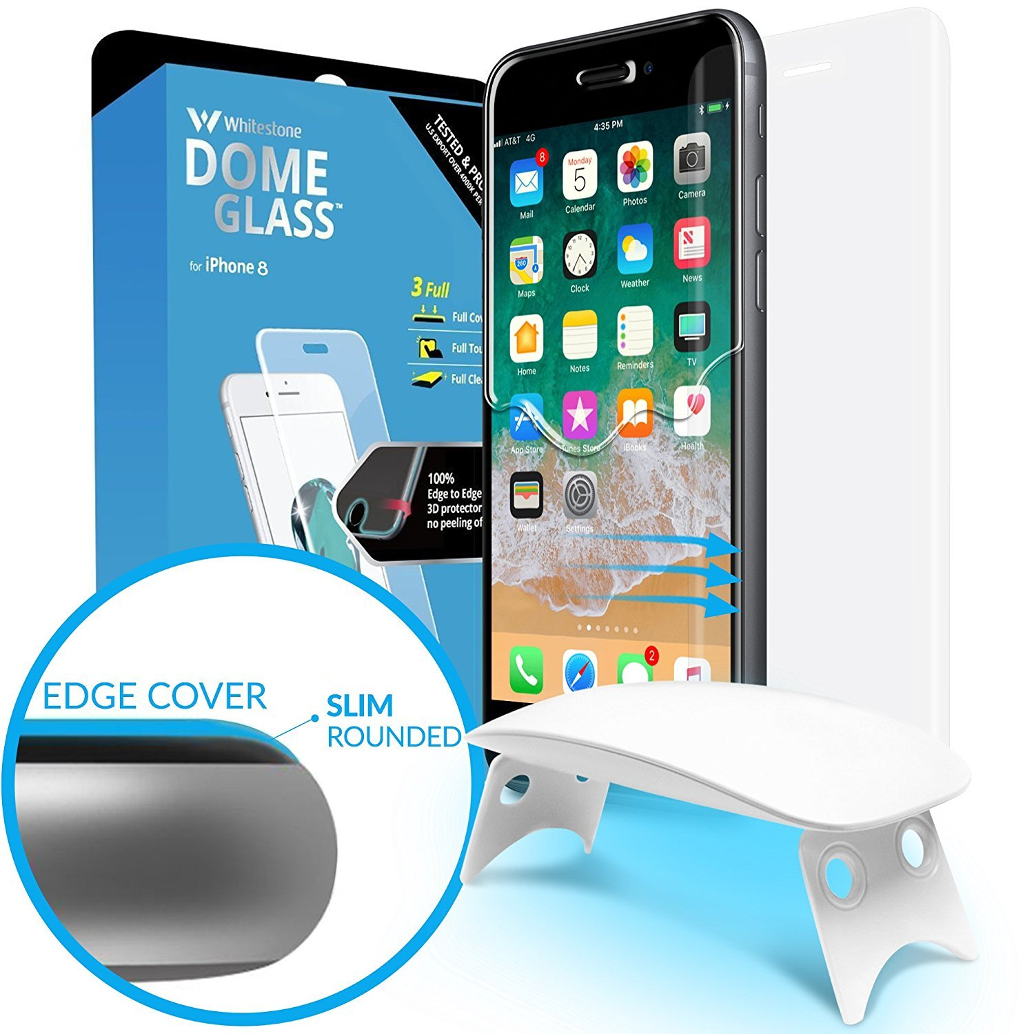 Dome Glass iPhone 8 Screen Protector Tempered Glass Shield, [Liquid Dispersion Tech] 2.5D Curved Full Coverage, Easy Install Kit and UV Light by Whitestone for Apple iPhone 8 (2017) / iPhone 7 (2016) by Dome Glass