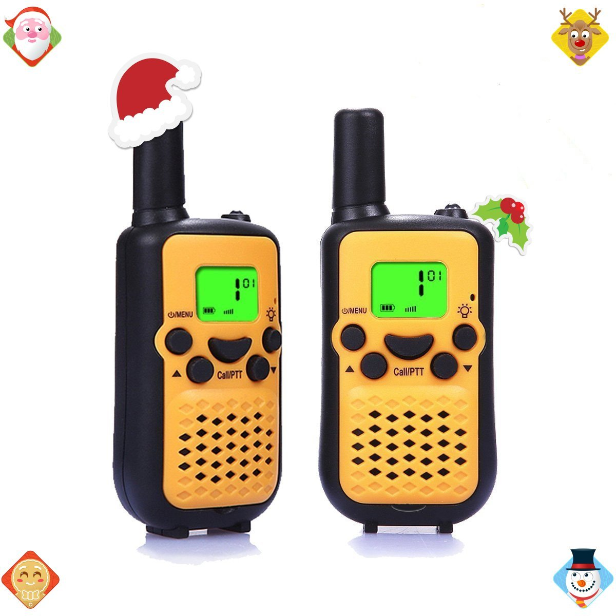 Walkie Talkies, Wireless Interphone 22 Channel FRS/GMRS 2 Way Radio 2 miles (up to 3 Miles) UHF Handheld Walkie Talkies for Kids,Business Outdoor Use (1 pair)(Yellow)