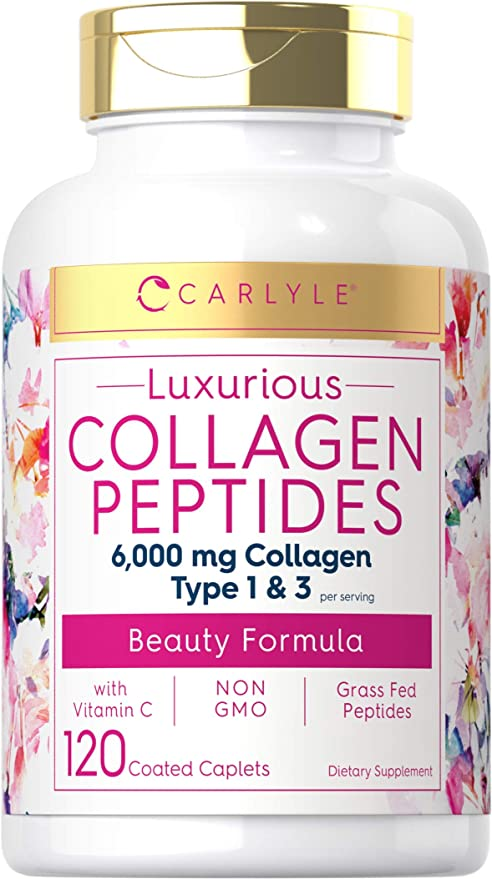 Collagen Peptides 6000 mg | 120 Caplets | Type 1 and 3 with Vitamin C | Grass Fed, Non-GMO, Gluten Free Pill Supplement | by Carlyle