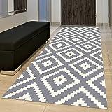 Tapiso Tappeto Passatoia Per Corridoio Moderno Collezione Marocchino – Colore Grigio Bianco Design Geometrico Arabesque Reticolo 120 x 930 cm